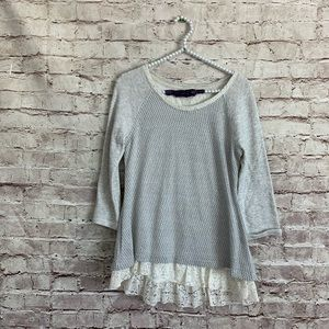Postmark Small Lace Metallic Tunic Top 3/4 Sleeve